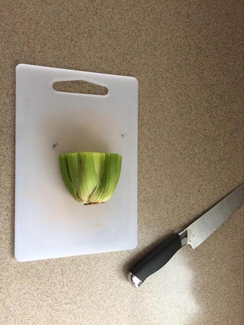 Celery base cut on the desk