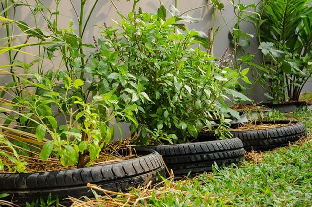 Mosaic Tire Rim Planter