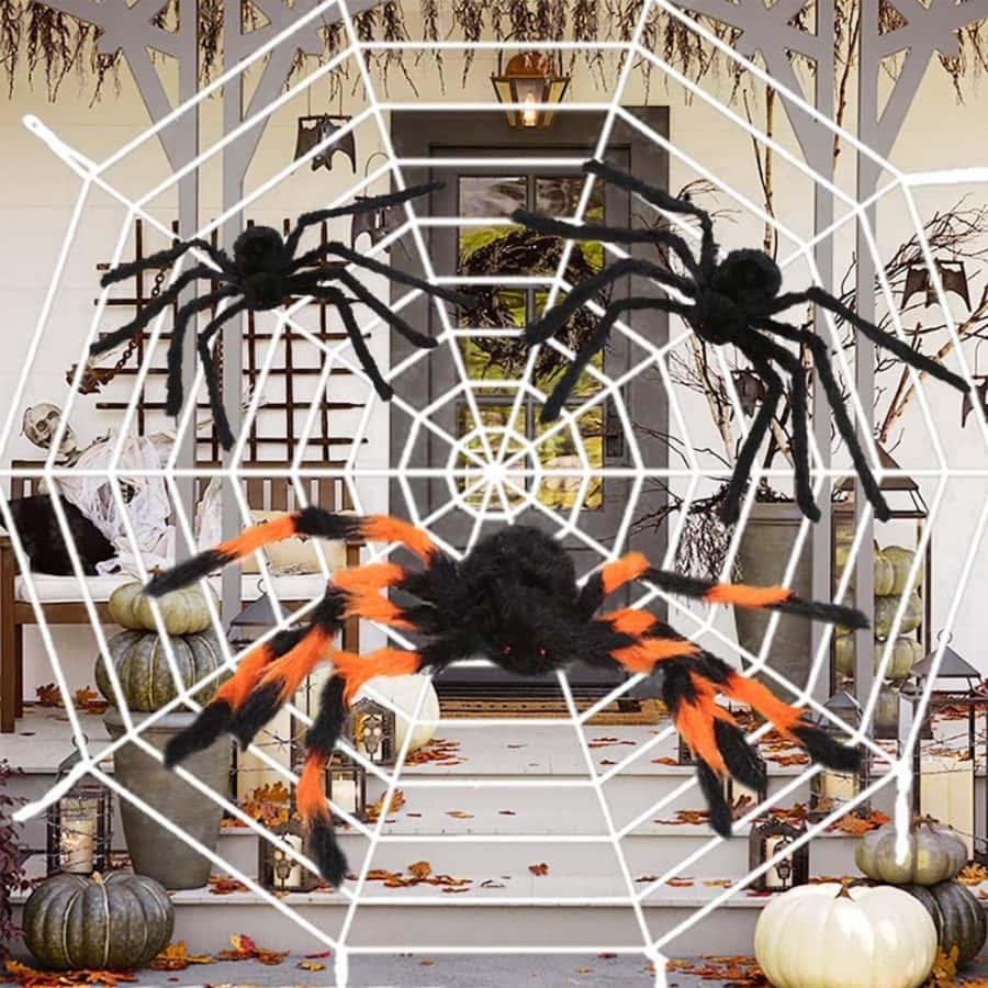 12 Feet Halloween Round Spider Web with 2 Large Spider