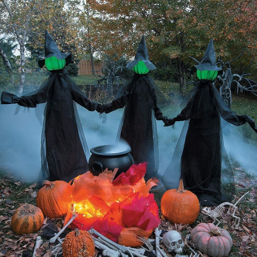 amazon glowing face witch set of three yard decorations
