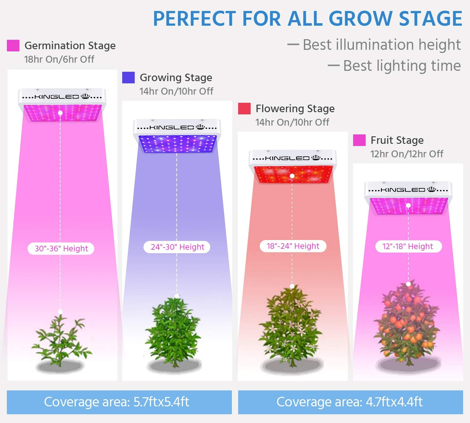 King Plus 1200w LED Grow Light Full Spectrum