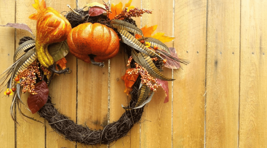 make your own wreath diy fall decor hanging on wooden wall