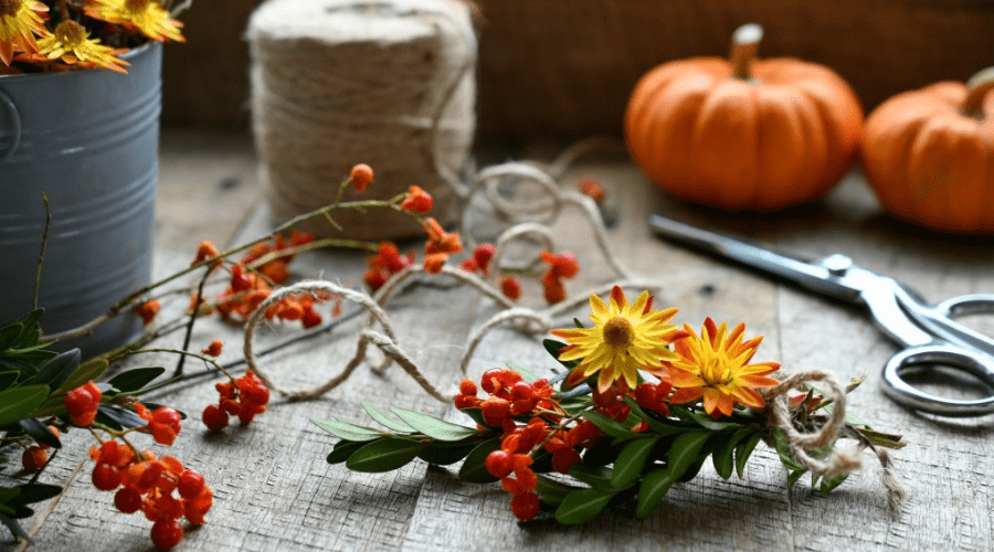 fall wreath making diy supplies on table