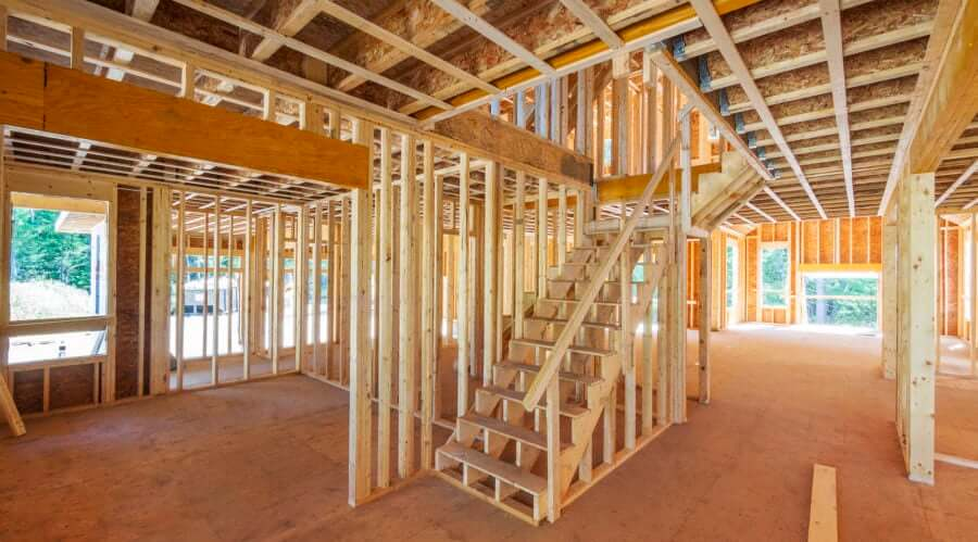 Ground Floor Wooden House Frame Structure with a staircase