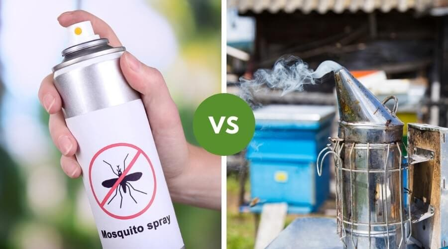 An image of a mosquito Repelant on the left, and a can of a smoking Fogger on the right side