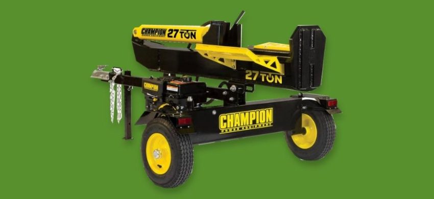 Champion Power Equipment 27 Ton 224cc Log Splitter in green background