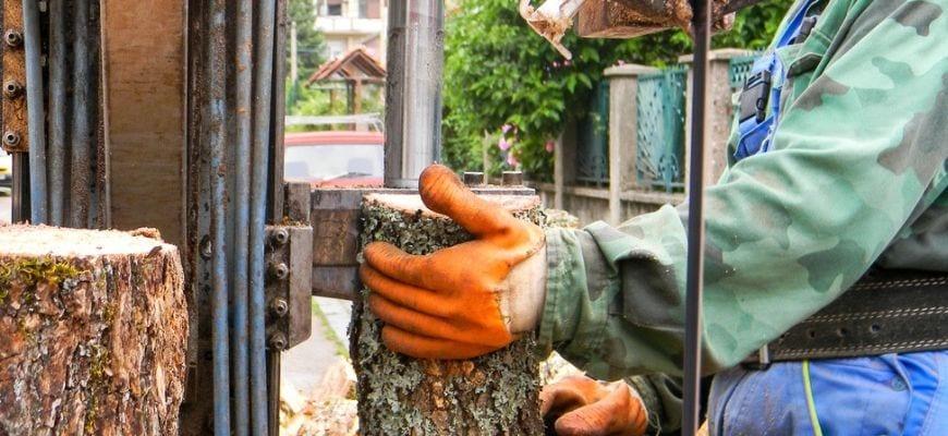 Man splitting log using log splitter