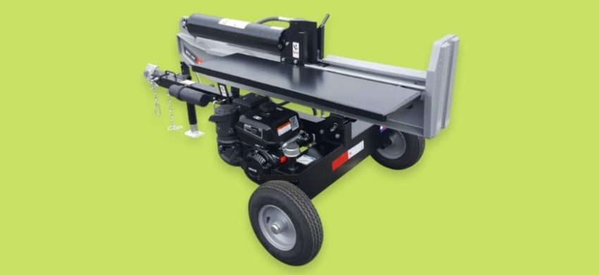 Where Can You Rent a Log Splitter - feature image: log splitter in green background