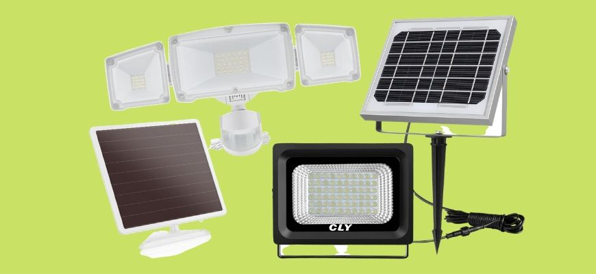 Solar Flood Lights in yellow green background