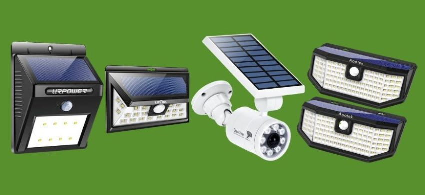 Solar Powered Motion Security Lights in green background