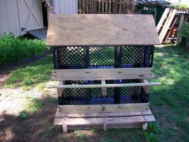 Sloped-Roof Nesting Boxes in the backyard
