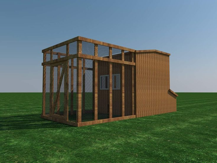 Chicken Coop Plans DIY Poultry Hen House with Run Kennel - 3D presentation