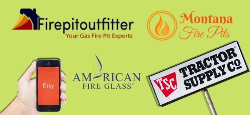 11 Best Places to Buy a Fire Pit - Store logos isolated in apple green background