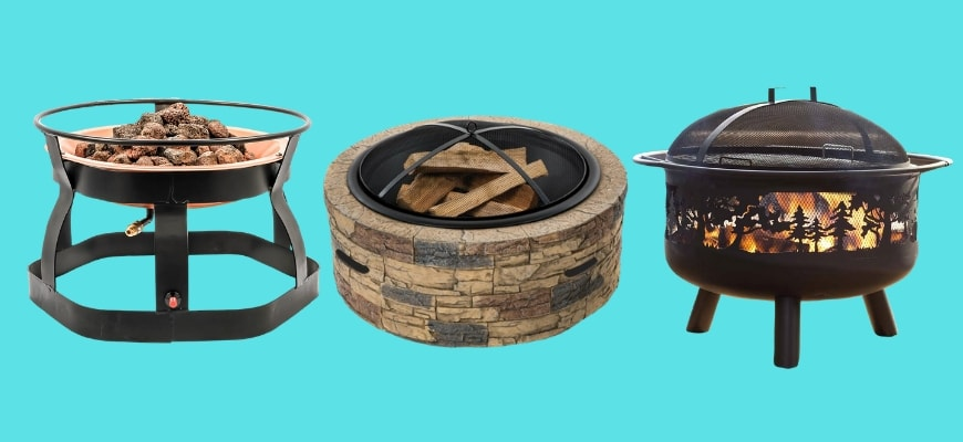 Fire Pit Ideas for Your Yard - Different fire pit design in aqua blue background.