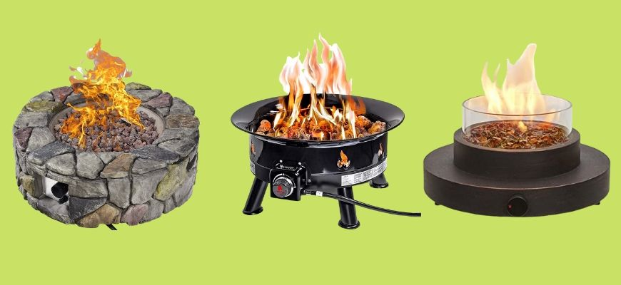 Propane Fire Pits in yellow green background