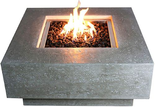 Modeno Outdoor Natural Gas Fire Pit Table Grey Durable Round Fire Bowl Glass Fiber Reinforced Concrete Natural Gas Patio Fire Place 27 Inches Electronic Ignition Cover and Lava Rock Included