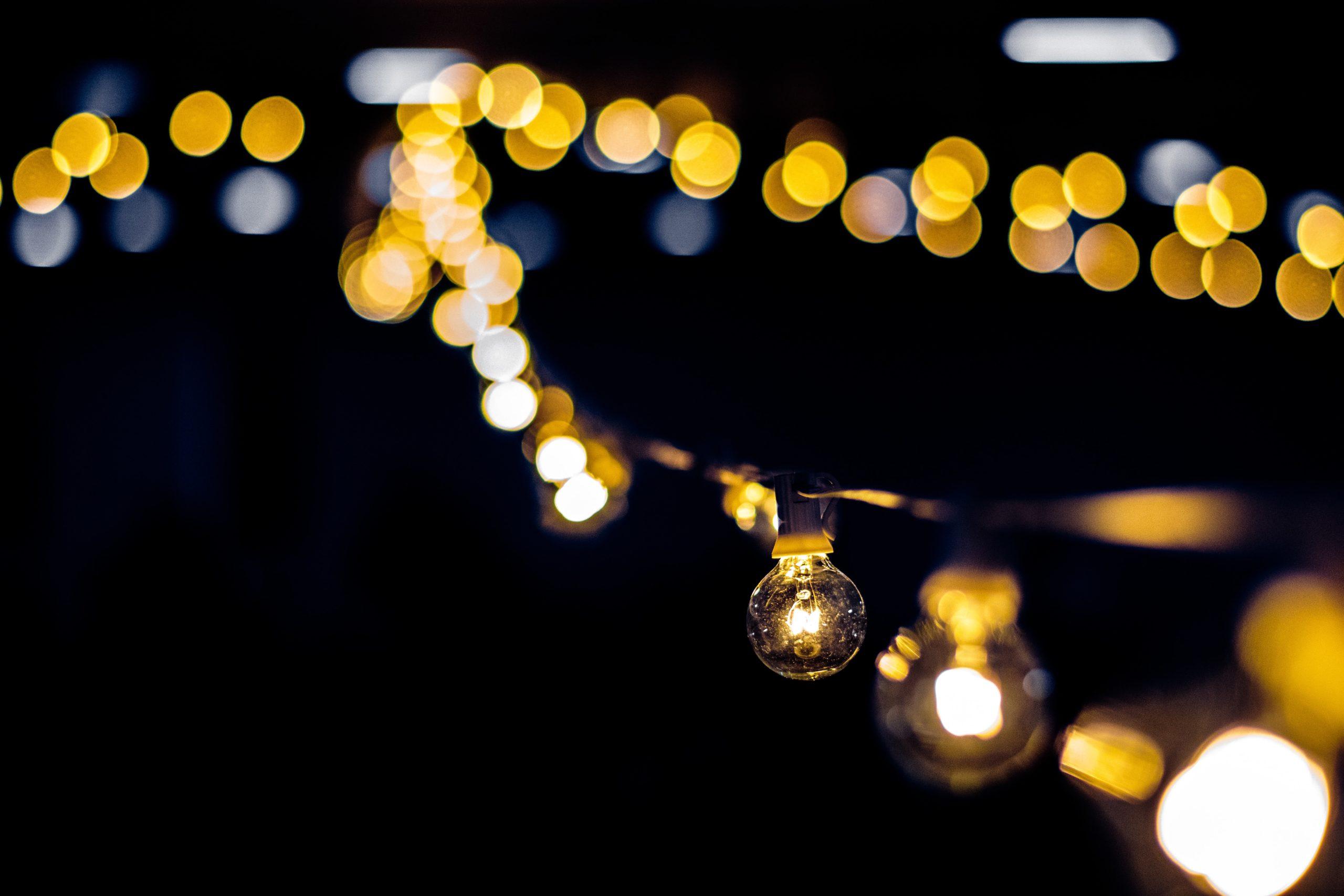 Blurred string lights