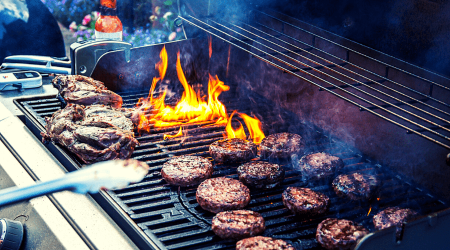 burgers on an outdoor grill