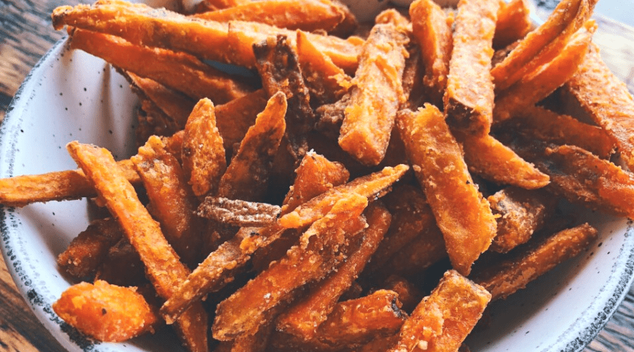 homemade sweet potato fries in a bowl