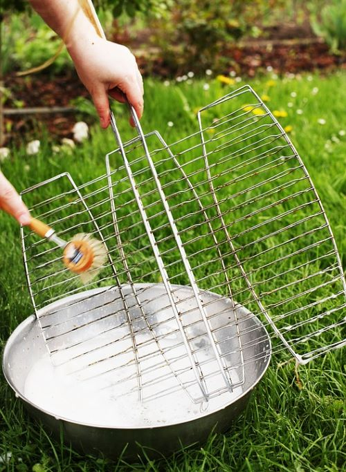 Grill Brush and Water
