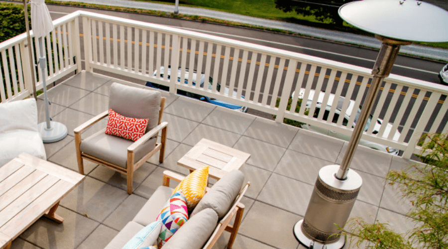 patio with furniture and heater