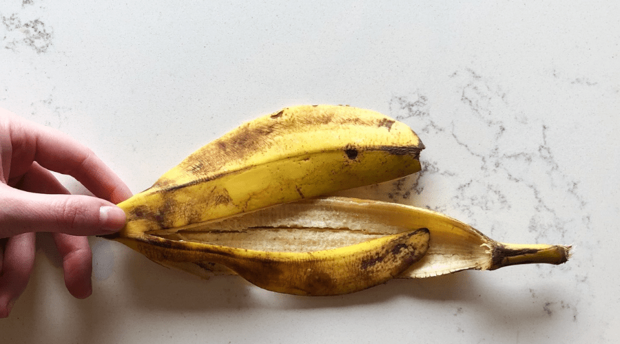 banana peel on countertop