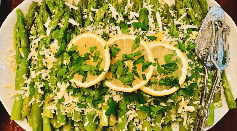 grilled asparagus with lemon herbs and parmesan cheese