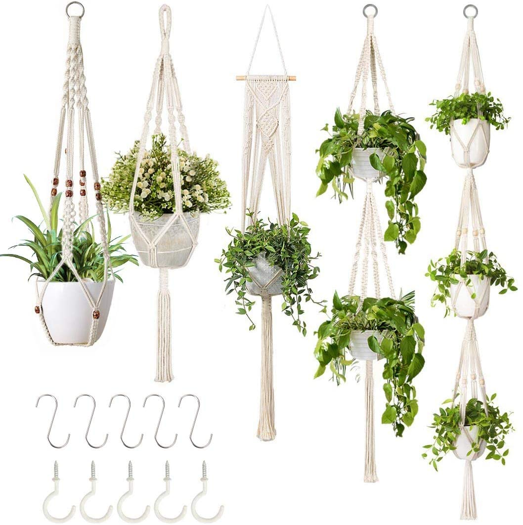 GROWNEER 5-Pack Macrame Plant Hangers
