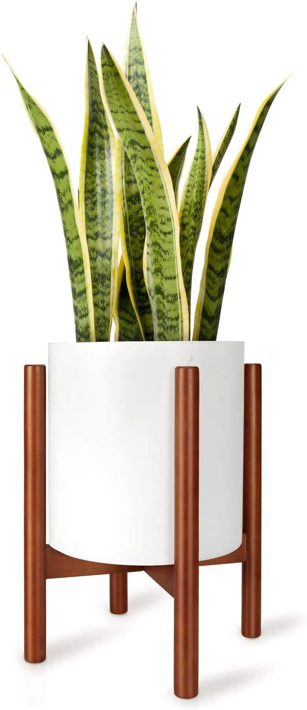 """Mkono 10"""" Mid Century Rustic Wooden Indoor Pot Holder"""