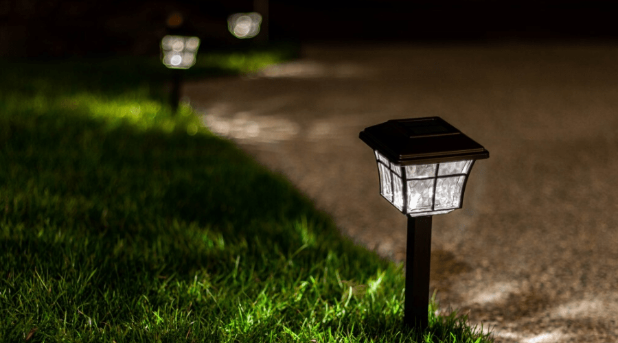 solar lights at night garden path