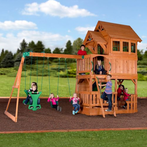 Backyard Discovery Liberty II All Cedar Wood Playset Swing Set