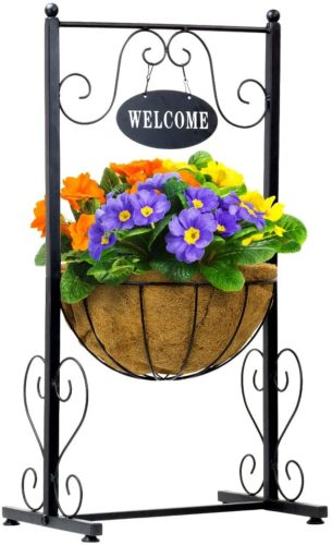 Sorbus Welcome Planter Basket Stand with Coco Liner