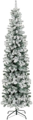 7.5ft Snow Flocked Artificial Pencil Christmas Tree Holiday Decoration w/Metal Stand