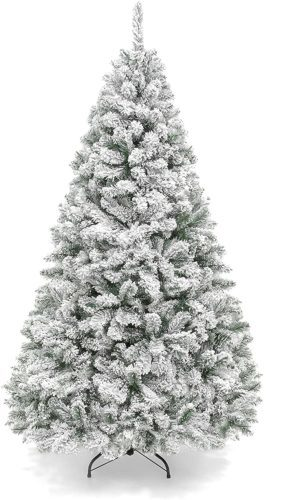 6ft Premium Snow Flocked Hinged Artificial Pine Christmas Tree Holiday Decor w/Metal Stand