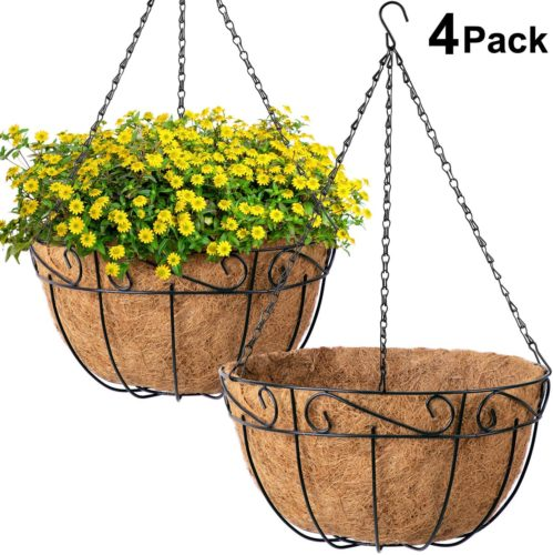Amagabeli 4 Pack Metal Hanging Planter Basket