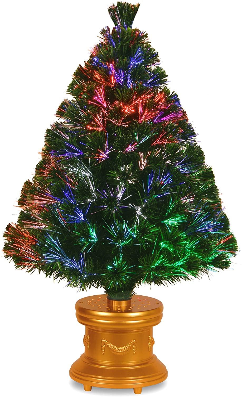 National Tree Company 36-Inch Fiber Optic Evergreen Firework Tree