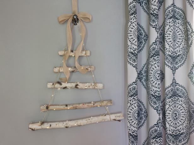 birch log rope ladder tree DIY alternative idea Christmas