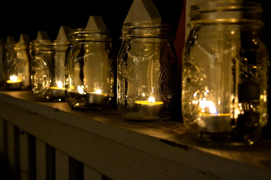 tea lights or votives in old mason ball glass jars