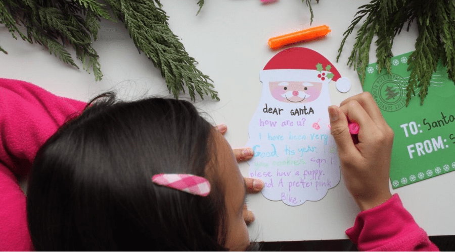 a girl writes a letter to santa