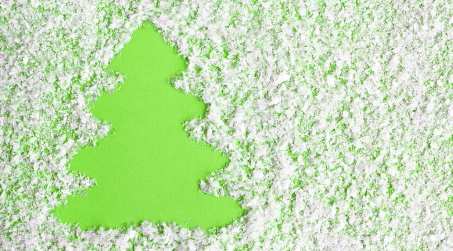 artificial snow on christmas card to make a tree shape