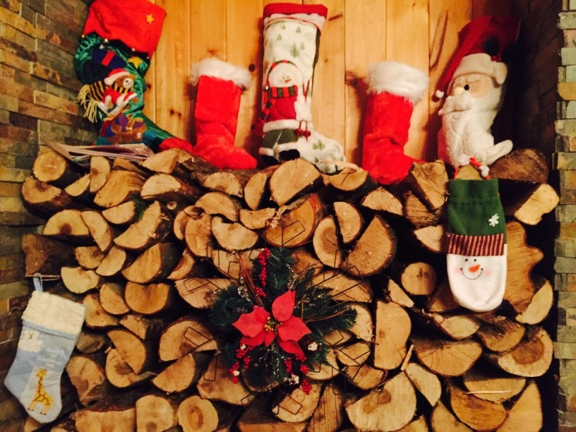 woodpile decoration natural christmas idea
