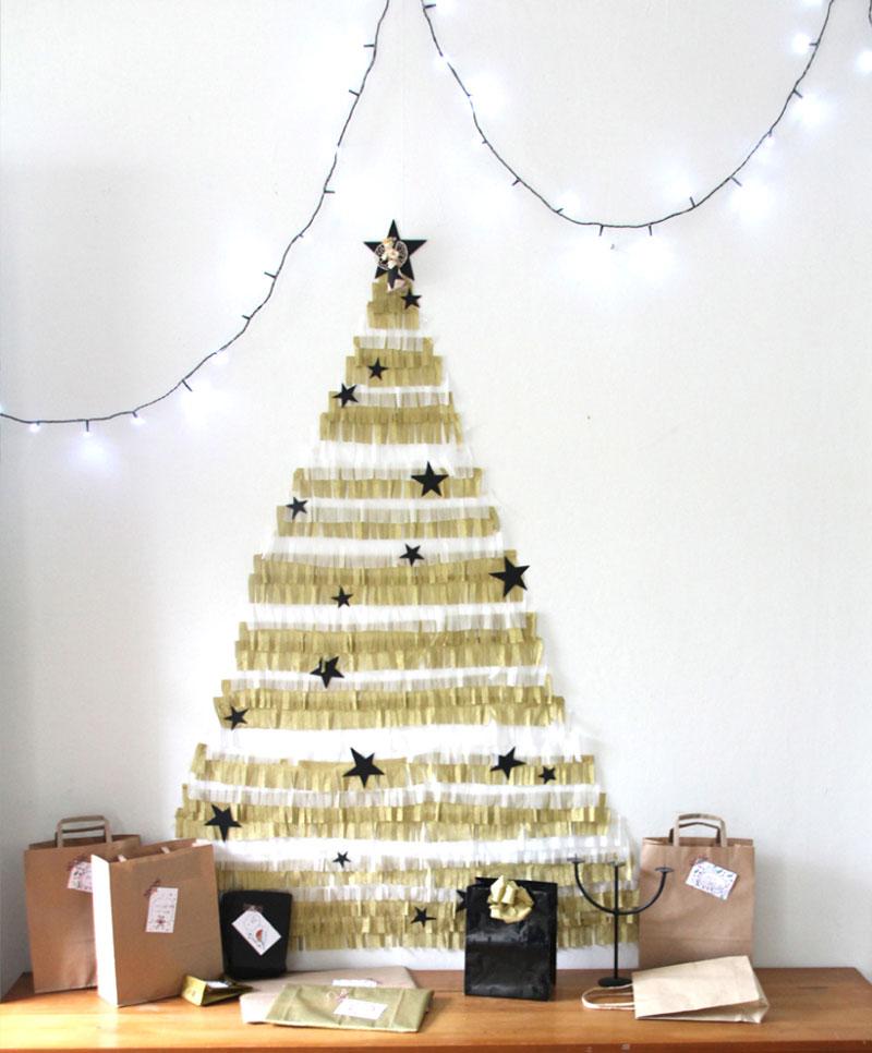 crepe paper wall tree alternative christmas idea