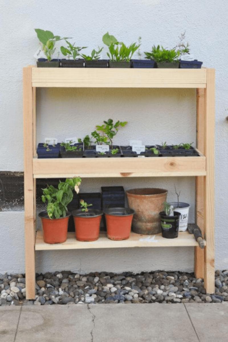 indoor outdoor three shelf tier for plants diy 4