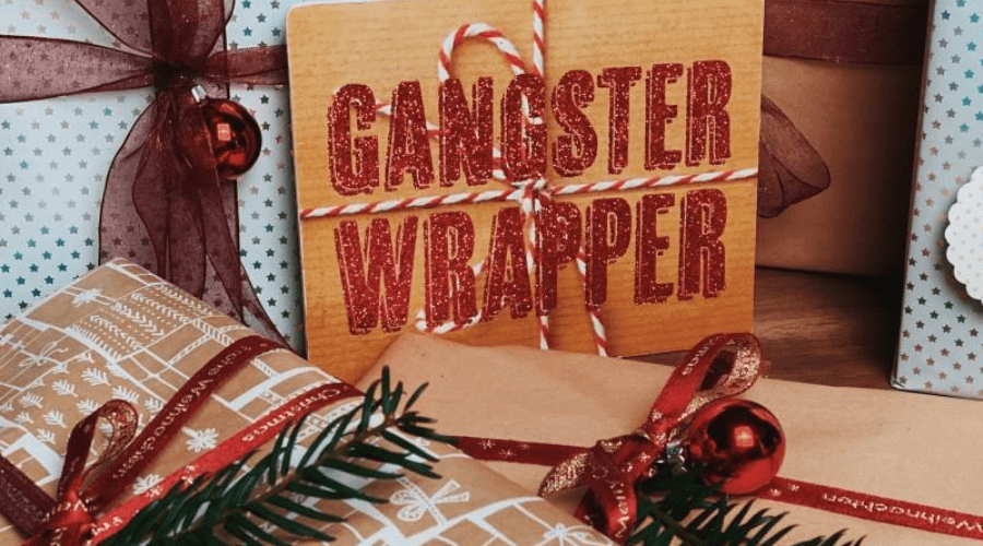funny christmas quote gangster wrapper DIY giftwrap