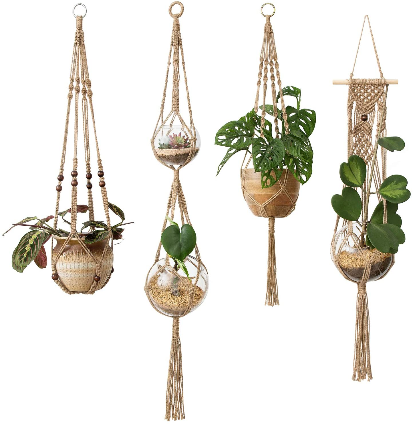 Mkono Macrame Plant Hangers 4 Pcs Indoor Outdoor Hanging Planter