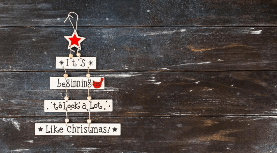 it's beginning to look a lot like christmas wooden ornament flat lay