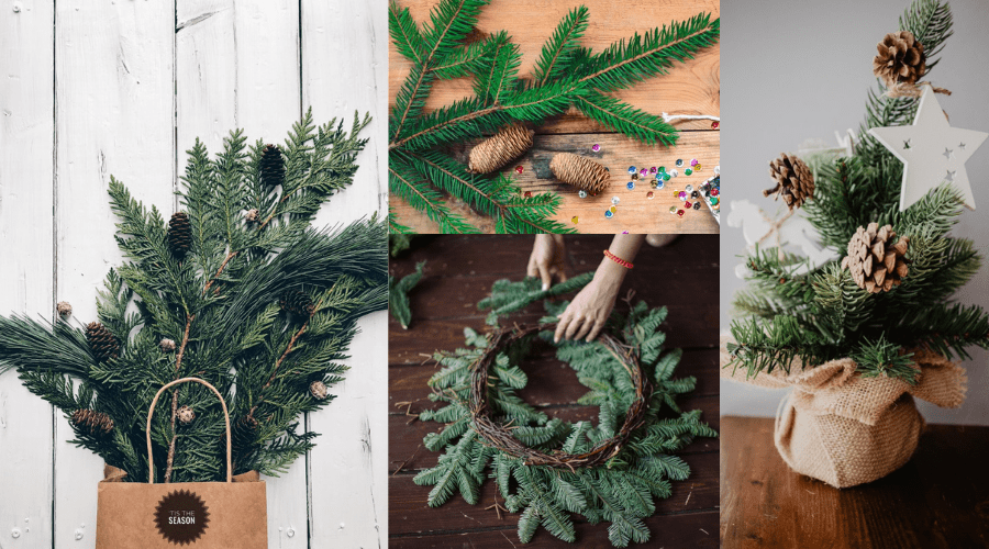 natural christmas decoration ideas pine bough