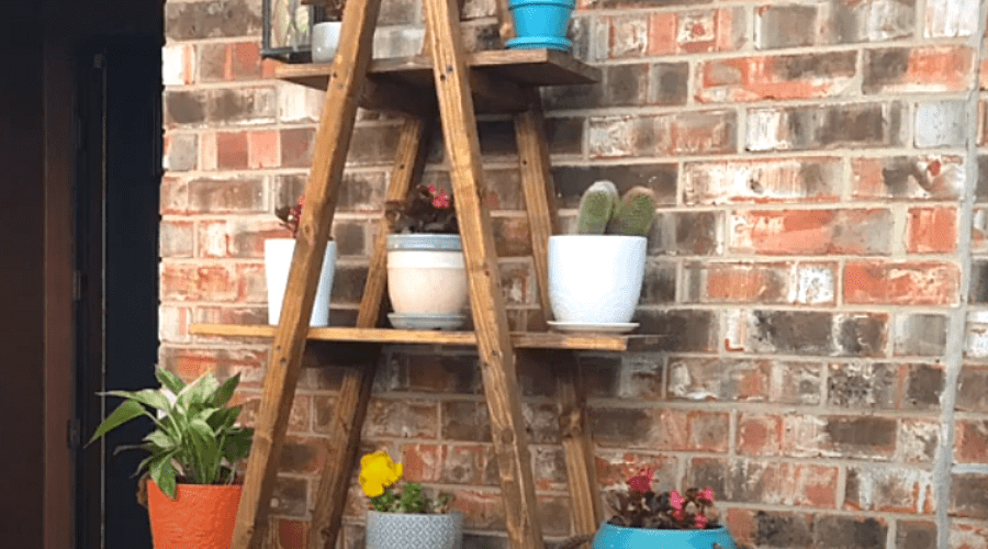 DIY plant stand tutorial a-frame ladder indoor plant stand