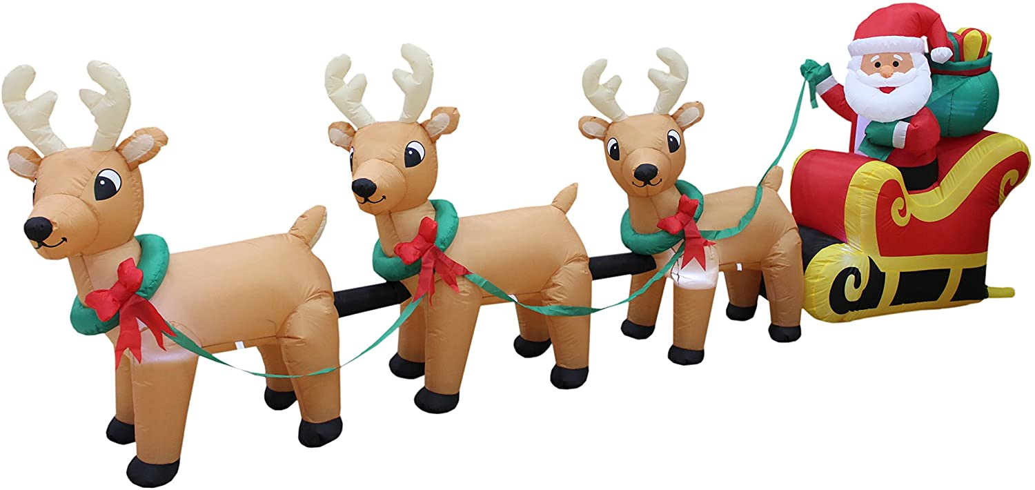 christmas inflatable santa and reindeer in sleigh