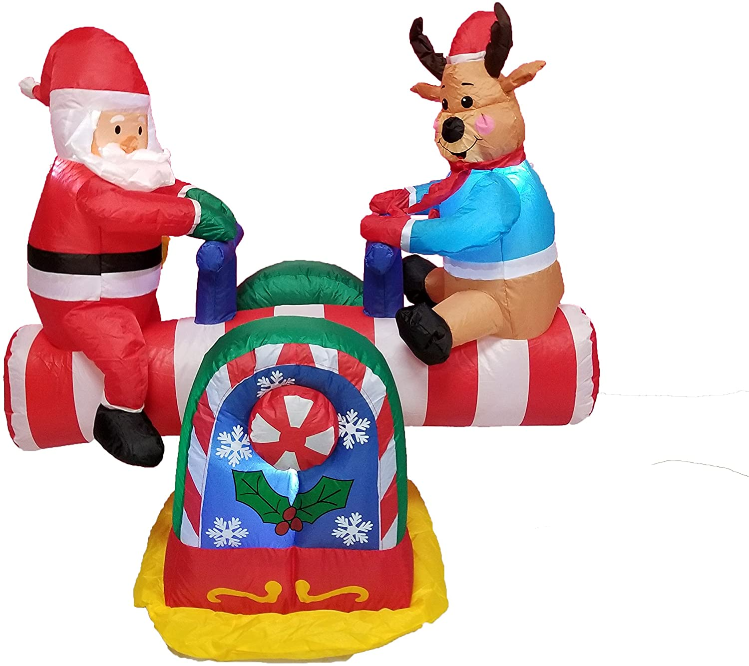 BZB Goods Animated Christmas Inflatable Santa Claus and Reindeer on Teeter Totter